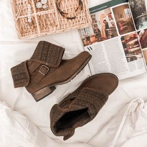 SO BLANKET BROWN HEELED BUCKLE SLIP ON ANKLE BOOTS